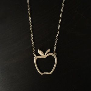 Silver Apple Shape Necklace by American Eagle
